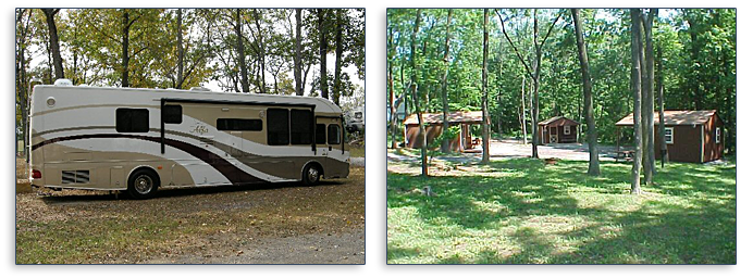 Spacious campsites and cabin rentals at Dogwood Acres Campground.