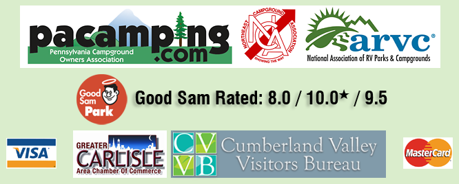 Member PCOA, NCA, National ARVC, Greater Carlisle Chamber of Commerce, Cumberland Valley Visitors Bureau. Good Sam Rated: 8.0 / 10.0* / 9.5. Visa and MasterCard accepted.