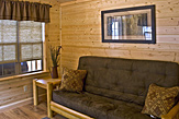 Living area of the Dogwood Acres full-service camping cabin.