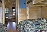 Sleeping bunks in the Dogwood Acres full-service camping cabin.