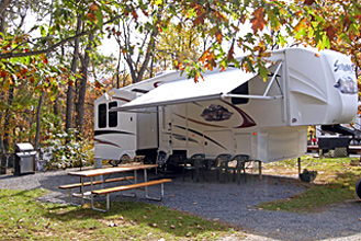 Fifth Wheel Rental Trailer Exterior at Dogwood Acres Campground