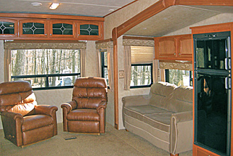 Fifth Wheel Rental Trailer Slide Area at Dogwood Acres Campground