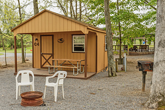 Deluxe Cabin Exterior at Dogwood Acres Campground